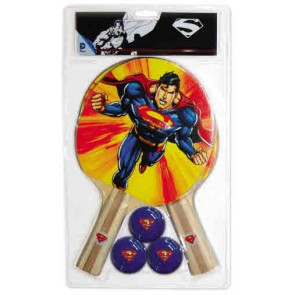Superman 2 Player TABLE TENNIS Set with 2 Bats & 3 Balls