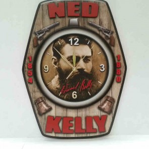 3-D Premium Pool Room WALL CLOCK - NED KELLY