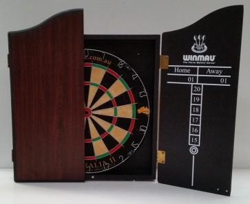 Pro Star Aus 2 Micro wire Dart Board Set with Winmau Rosewood Dart Cabinet & 6 Darts