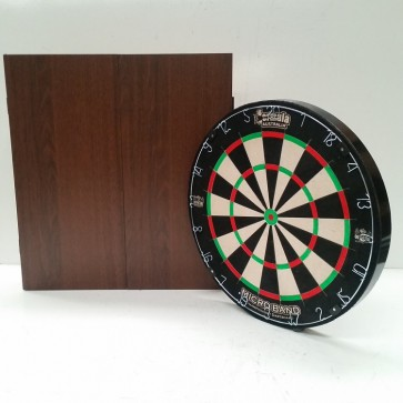 Micro Band DART BOARD & Walnut Finish CABINET