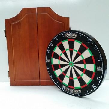 Micro-Band Dartboard & Soild Walnut Cabinet 6 Free Darts