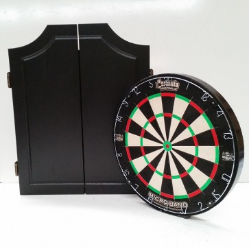 Micro-Band Dartboard & Solid Black Cabinet 6 Free Darts