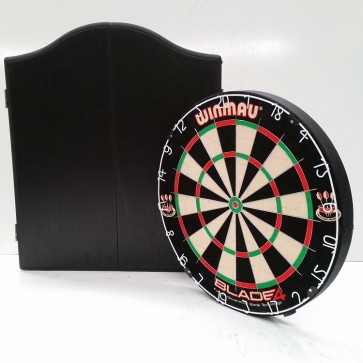Professional Level Winmau Blade 5 DARTBOARD with Black CABINET & 6 DARTS
