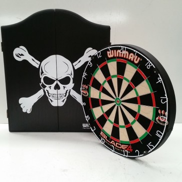Professional Level Winmau Blade 5 DARTBOARD with Skull CABINET & 6 DARTS