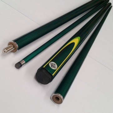"57"" Composite 2 Pce Pool Snooker Billiards CUE - Green Graphite with Yellow and Green Flame"