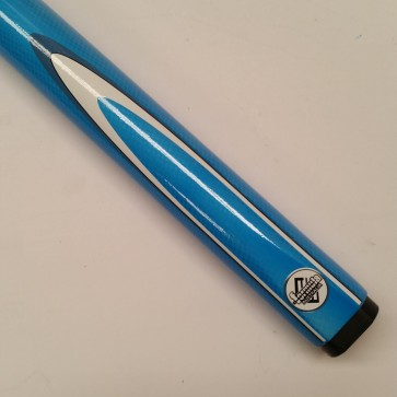 """48"""" Childrens 2 Pce Composite Pool Snooker Billiards CUE& CASE -  Blue Fluro with White & Blue Flame"""