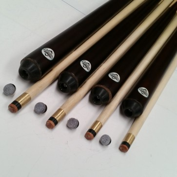 Four (4) x 1 Pce Maple Wooden Pool Snooker Billiards CUES & (4) Screw on TIPS