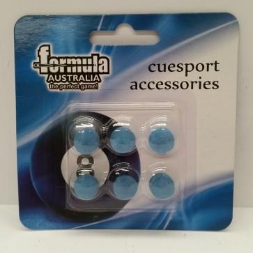 6 x Diamond Pro Blue CUE TIPS (Stick On) 12mm