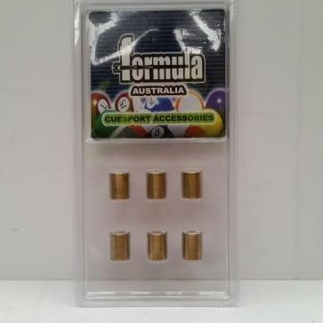 6 x Brass Ferrule CUE TIPS (Screw On) 12mm