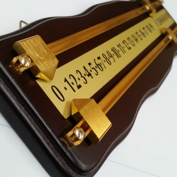 Curved Wooden Snooker Billiards SCOREBOARD - WALNUT with BRASS Pointers and Rails