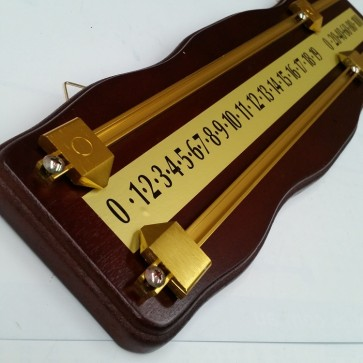 Curved Wooden Snooker Billiards SCOREBOARD - MAHOGANY with BRASS Pointers and Rails