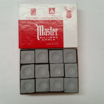 Masters Billiards Pool Snooker CUE CHALK - 12 Pieces - GREY
