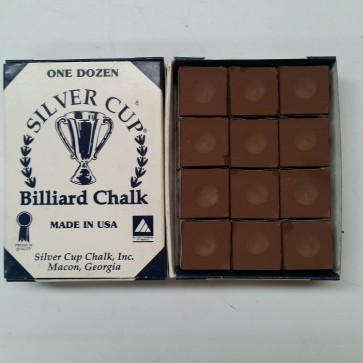 Silver Cup Billiard CUE CHALK 12 Pieces - BROWN - Made In USA