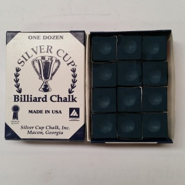 Silver Cup Billiard CUE CHALK 12 Pieces - NAVY - Made In USA