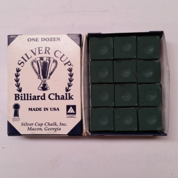Silver Cup Billiard CUE CHALK 12 Pieces - SPRUCE - Made In USA