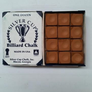 Silver Cup Billiard CUE CHALK 12 Pieces - COPPER - Made In USA