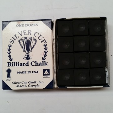 Silver Cup Billiard CUE CHALK 12 Pieces - BLACK - Made In USA