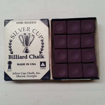 Silver Cup Billiard CUE CHALK 12 Pieces - PLUM - Made In USA