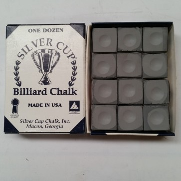 Silver Cup Billiard CUE CHALK 12 Pieces - PEWTER (SILVER) -  Made In USA