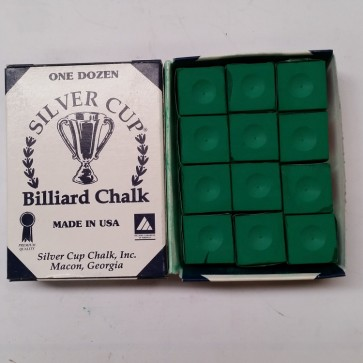 Silver Cup Billiard CUE CHALK 12 Pieces - PRO GREEN - Made In USA