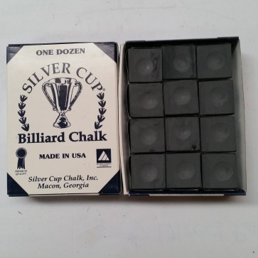 Silver Cup Billiard CUE CHALK 12 Pieces - CHARCOAL - Made In USA