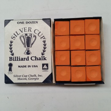 Silver Cup Billiard CUE CHALK 12 Pieces - ORANGE - Made In USA