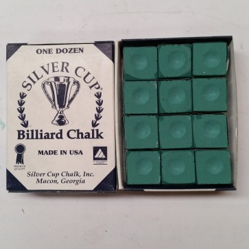 Silver Cup Billiard CUE CHALK 12 Pieces - GREEN - Made In USA