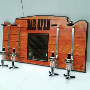 Bar Open 4 Spirit Measure Wall Mounted Dispenser With Mirror