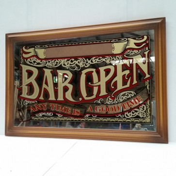"Bar Mirror ""Bar Open"" Personalise With Your Name"