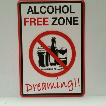 Boozin 3-D Road Sign ALCOHOL FREE ZONE DREAMING