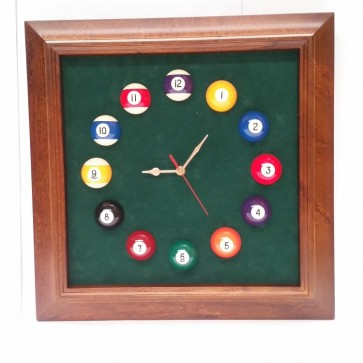POT BLACK TIMBER 8 BALL Pool Room WALL CLOCK