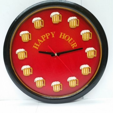 Happy Hour Pool Room WALL CLOCK