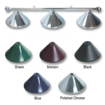 Metal Polished CHROME Pool Snooker Billiards Table LIGHT - 3 x Light Hats