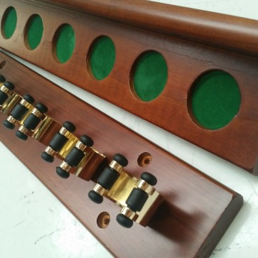2 Piece Wall Mount CUE RACK - 6 Brass Clip - WALNUT