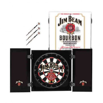 Official Licensed Jim Beam Bourbon Whiskey Dartboard and Cabinet Set