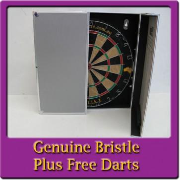Australia I Genuine Bristle Dartboard & Aluminium Cabinet + Free Darts