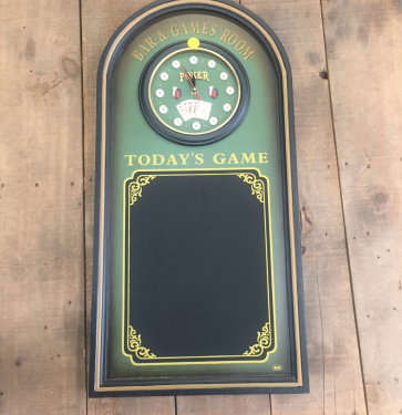 BAR GAMES ROOM WALL SIGN WITH CLOCK AND CHALKBOARD