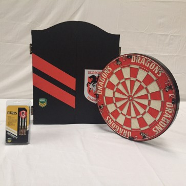 NRL Licensed DARTBOARD PACK - St George Illawarra DRAGONS New Design 2015