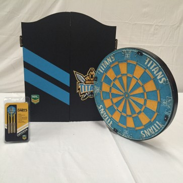 NRL Licensed DARTBOARD PACK - Gold Coast TITANS New Design 2015