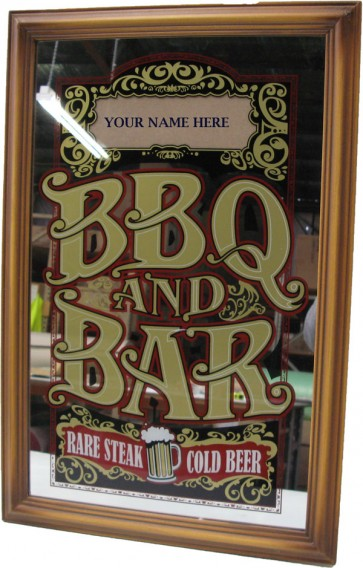 "Bar Mirror ""BBQ and Bar"" Personalise With Your Name"