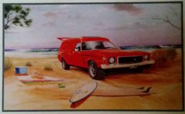 Australian Cars & Transport - 1975 Holden HJ Beach Scene - Tin Sign