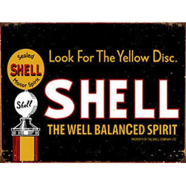 Australian Cars & Transport - Shell Look For Yellow Disc Vintage - Tin Sign