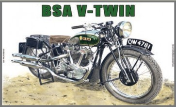 Australian Cars & Transport BSA V Twin 1935 Tin Sign