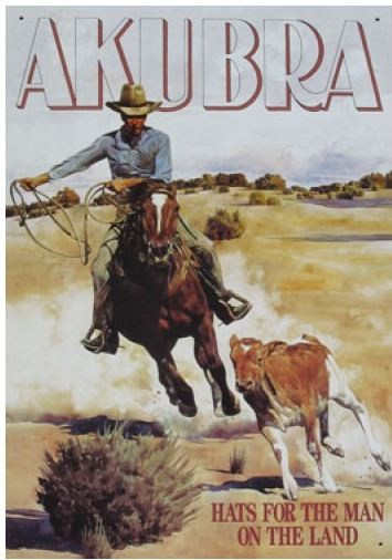 Australian Heritage Series Akubra Hat Man Riding Horse Tin Sign