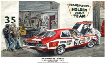 Australian Cars & Transport Birthplace of Legends: 35 Queens Ave 1972 Tin Sign