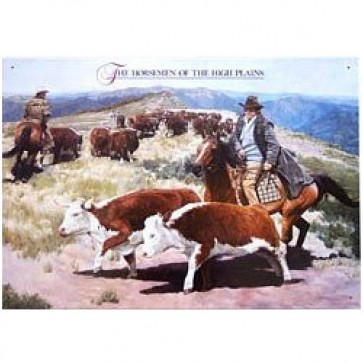 Australian Heritage Series Horseman of the High Plains Cattle Tin Sign