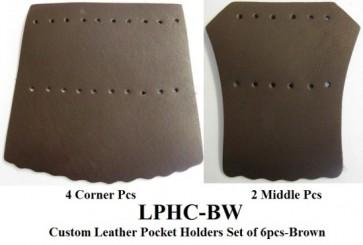 Leather POCKET HOLDER Set - 6 Pce - BROWN
