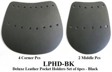 Deluxe Leather POCKET HOLDER Set - 6 Pce - BLACK
