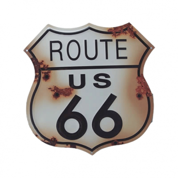 Route 66 Rusted Tin Sign