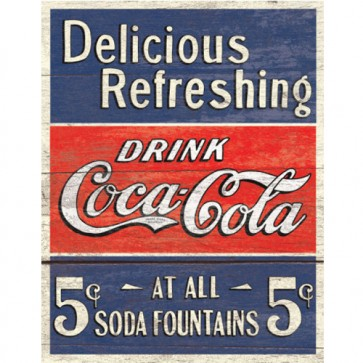 COKE - Delicious 5 Cents - Tin Sign